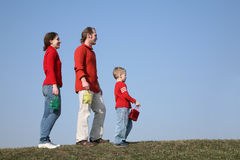 Familie met kleine zakken Stock Foto
