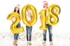Familie met 2018 Nieuwe jaarballons Royalty-vrije Stock Foto's