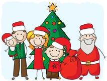 Familie met santa Royalty-vrije Stock Afbeeldingen