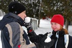 Familie met sneeuwballen Royalty-vrije Stock Afbeelding