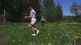 Familie met vliegende schijf op weide stock videobeelden