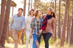 Familie mit den Jugendkindern, die in die Landschaft gehen lizenzfreie stockfotos