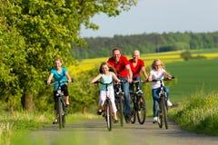 Familie mit den Kindern, die in Sommer mit Fahrrädern radfahren Stockfoto