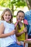 Familie mit der amerikanischen Flagge, die ein Picknick hat Lizenzfreies Stockbild