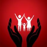 Familie mit in der Hand Lizenzfreies Stockbild