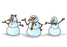 Familie mit drei Schneemännern Stockfotos