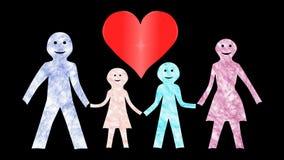 Familie mit einer Mutter u. einem Vati-Herz-lebhaften Hintergrund-transparenten stock footage