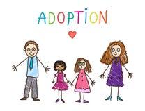 Familie mit Großvater, Großmutter, Vater, Mutter, Sohn, daugther und Schätzchen Adoptivfamilie Auch im corel abgehobenen Betrag stock abbildung