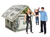 Familie mit hängendem Bot und Dollar bringen Collage unter Stockfotos