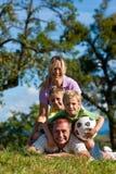 Familie mit Kindern auf einer Wiese stockfotografie