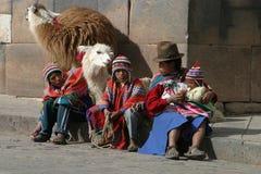 Familie mit Lamas in Cuzco Lizenzfreie Stockfotografie