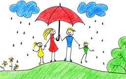 Familie mit Regenschirm Lizenzfreie Stockbilder