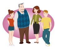 Familie mit Wachstumkindern Lizenzfreies Stockfoto