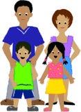 Familie mit zwei Kids/ai Stockfotografie
