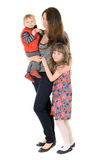 Familie: moeder, dochter en zoon stock fotografie