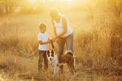 familie Mutter, Sohn und Hund lizenzfreies stockfoto