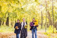 Familie, Natur, Herbst und Leutekonzept - Porträt der glücklichen Mutter, des Vaters, des Sohns und der Tochter im Fall lizenzfreie stockfotos