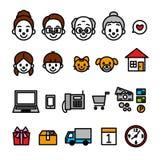 Familie online het winkelen pictogrammen royalty-vrije illustratie