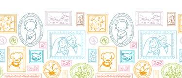 Familie ontworpen beelden horizontaal naadloos patroon Royalty-vrije Stock Afbeelding