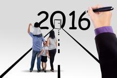 Familie op de manier met nummer 2016 vector illustratie