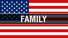 Familie op een de vlagachtergrond van de V.S., het 3D teruggeven De vlag die van de Verenigde Staten van Amerika in de wind golve royalty-vrije illustratie