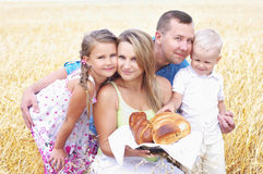 Familie op een tarwegebied stock foto
