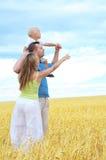 Familie op een tarwegebied Stock Foto's
