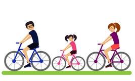 Familie op fietsen Stock Afbeeldingen
