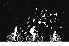 Familie op fietsen in park bij nacht vector illustratie