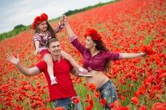 Familie op het papavergebied Stock Afbeelding