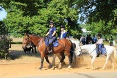 Familie op paarden Stock Foto's