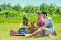 Familie op picknick Stock Afbeeldingen