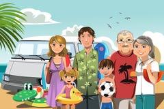 Familie op strandvakantie Stock Afbeelding