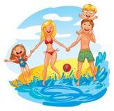 Familie op vakantie stock illustratie
