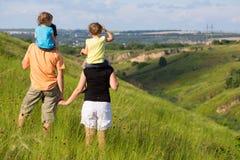 Familie in openlucht Stock Fotografie