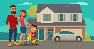 Familie Ouders, grootouders en kind op een driewieler op achtergrond met huis en auto vector illustratie