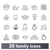 Familie, Ouderschap, de Vectorpictogrammen van het Kinderjarenoverzicht vector illustratie