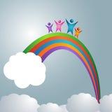 Familie over de Regenboog Stock Afbeeldingen