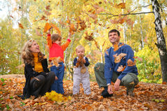 Familie in park stock foto's