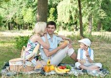 Familie picnick op in openlucht Royalty-vrije Stock Afbeelding