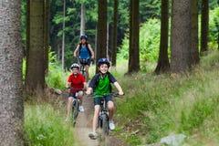 Familie Radfahren lizenzfreie stockfotografie