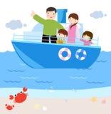 Familie in schip. beeldverhaal Stock Afbeelding
