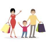Familie shopaholics Mann, Frau und Kind mit Einkaufstaschen vom Speicher Der Ehemann, die Frau und der Sohn von Käufern Charakter Lizenzfreie Stockfotografie