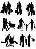 Familie silhouettiert das Einkaufen. Vektor Lizenzfreie Stockfotografie