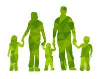 Familie silhouettiert Eltern und Kinder vector illustraion Leute Stockbilder