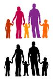 Familie silhouettiert Eltern und Kinder vector illustraion Leute Lizenzfreies Stockbild