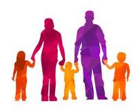 Familie silhouettiert Eltern und Kinder vector illustraion Leute Lizenzfreie Stockfotos