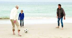 Familie Speelvoetbal samen stock footage