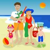 Familie am Strand Stockfoto
