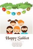 Familie in sukkah Sukkot Joodse Vakantie royalty-vrije illustratie